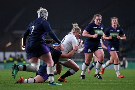 LONDON, ENGLAND - MARCH 16: Natasha Hunt of England scores her team's third try during the Women's Six Nations match between England Women and Scotland Women at Twickenham Stadium on March 16, 2019 in London, England. (Photo by Laurence Griffiths/Getty Images)