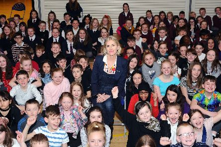 Visit from the Children's Laureate, Lauren Child, as part of her tour of Scotland. Over 250 children from different Grangemouth primary schools present.