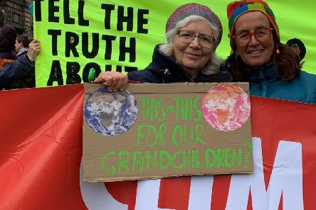 Cath Dyer (left) from Falkirk with Dr Lesley Morrison at the Extinction Rebellion protest in Edinburgh