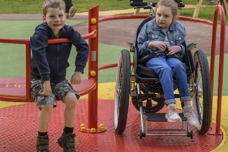 This wheelchair-accessible roundabout at a disability-friendly park in Harestanes works in a similar way to the one in Helix Park.