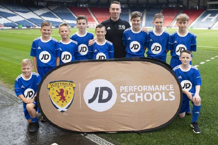 The latest intake of pupils are welcomed into the Scottish FA JD Performance Schools programme at an induction session at Hampden Park.''Pictured: Iain Ross - Graeme High School (SNS Group/Craig Foy)