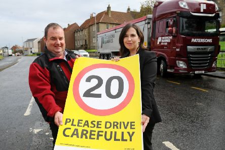 Gordon Carlton, Paterson transport manager and Councillor Laura Murtagh in Airth. Picture by Michael Gillen.