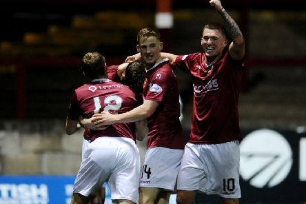 Stenhousemuir celebrate victory over Waterford (picture: Michael Gillen)