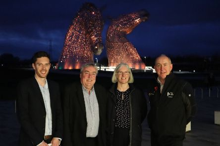 From left: VisitScotland regional director Neil Christison; VisitScotland chief executive Malcolm Roughead; The Helix Park team leader Ben Mardall; and Falkirk Community Trust chief executive Maureen Campbell