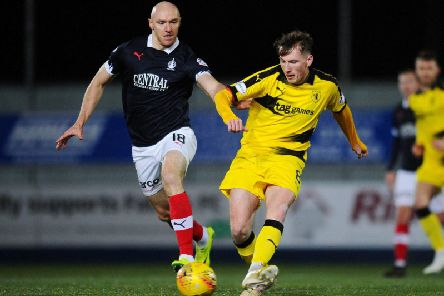 Conor Sammon in action for Falkirk against Raith Rovers earlier this season