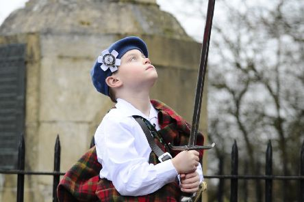 Young historical re-enactor  Raif Brown (9) at last year's commemoration event.