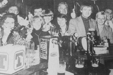 Penny Farthing, Kirkcaldy - 1977 - regulars toast the arrival of Sunday opening