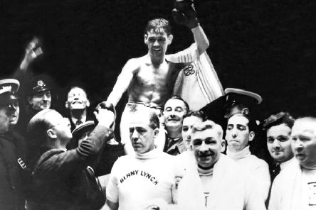 A triumphant Benny Lynch is carried off shoulder high after a fight at Shawfield, Glasgow. The World Flyweight Champion boxer beat Peter Kane by knockout.
