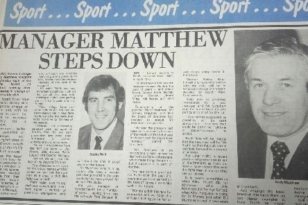 Fife Free Press - Raith Rovers manager Andy Matthew resigns, 1978