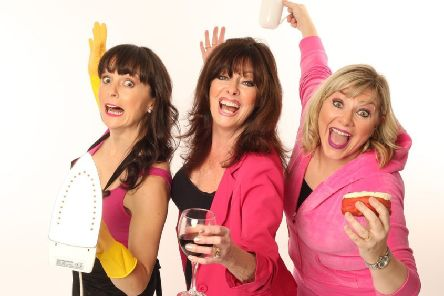 'Hormonal Housewives' stars Vicki Michelle ('Allo 'Allo, Emmerdale) (centre) with Josephine Partridge (Top Girls) (left) and co-writer Julie Coombe (pictured on the right).