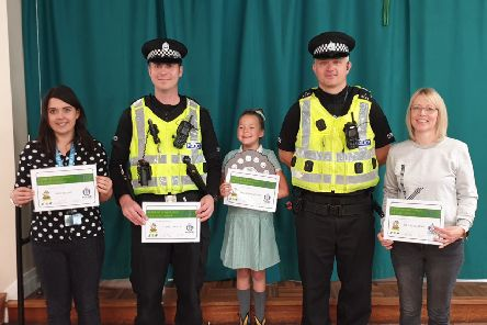 From left, Ms Brand, PC Parker, Bella Ballantyne, community police officer Euan Goudie, and Mrs Kotlewski.
