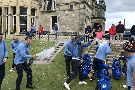 Team GB celebrate after winning the Simpson Cup.