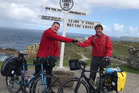 From left: Jamie Fraser and Neil Thain who completed a fundraising cycle to raise money for CHAS.