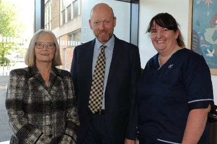 Pictured is Tricia Marwick, Nicholas Russell from Balbirnie House Hotel and Angela Glancey Snr Charge Nurse at the launch. Pic: George McLuskie.