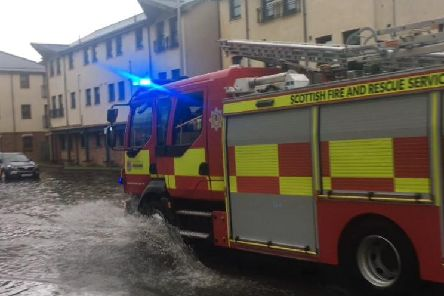 The floods in Kirkcaldy today.