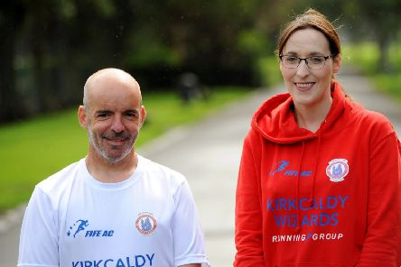 Barry Moir and Caroline Leckie, who are running the Kirkcaldy Parks Marathon this Sunday. Pic: Walter Neilson