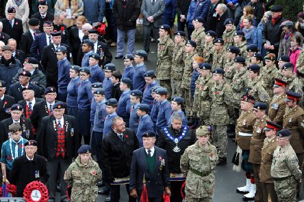 Remembrance Sunday Service, Memorial Gardens, Kirkcaldy. Picture by Walter Neilson/Fife Photo Agency.