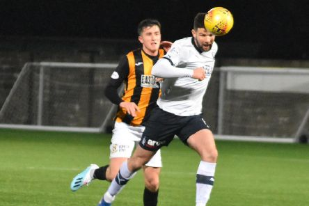 Lewis Hunter impressed in the black and gold. Pic by Kenny Mackay.