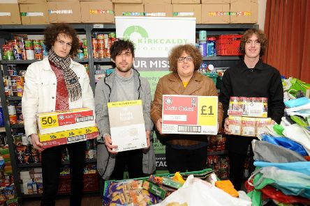 The Shambolics deliver donations from their gig to the Kirkcaldy Foodbank (Pics by Fife Photo Agency)