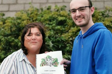 Jack and the Beanstalk co-producers Jeanette Gray and Lewis Platt with the script for this years show