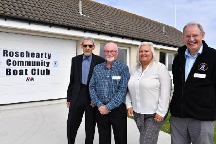 Pictured at the opening of the new Rosehearty Community Boat Club Clubhouse are (left to right): Ian Downie, president; Robbie Watt, treasurer; Elly Morrice, community council chair, and Graham Souter, secretary.
