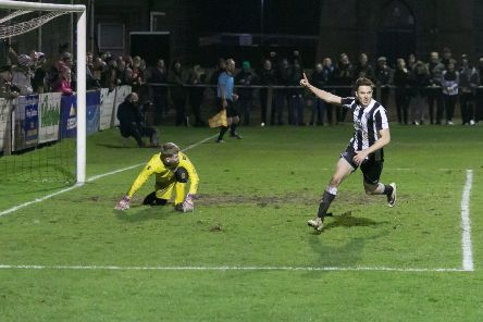 Paul Campbell celebrates after firing home a penalty for Fraserburgh's winning goal.