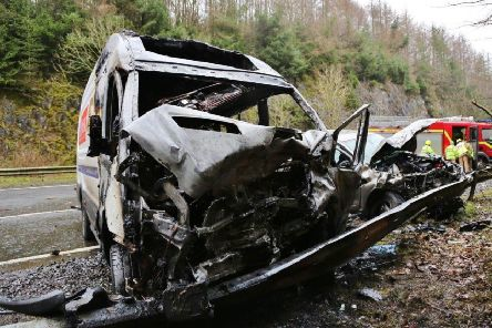 The remains fo the van after Wednesday's incident near Gatehouse of Fleet. Photo: Solway Press Services