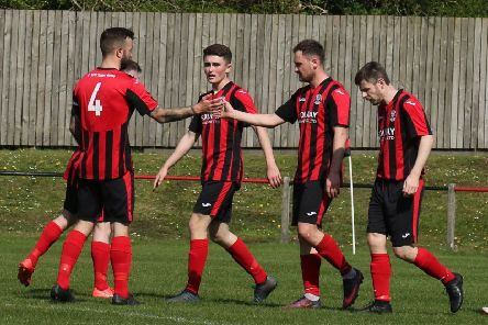 Dalbeattie Star celebrate goal against Vale of Leithen (picture: Dalbeattie Star)