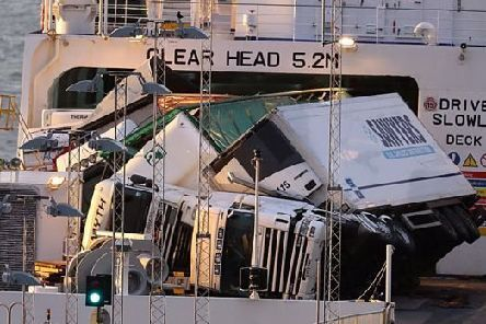 The chaotic scene on board the ferry at Cairnryan when HGVs were toppled in severe weather