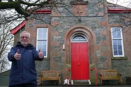 Jim Reid from the management committee pictured outside Dalry Town Hall.