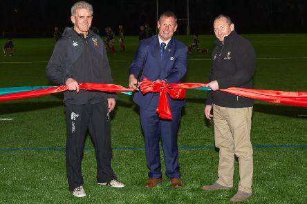 Ian Barr, vice president of the SRU (centre) Kenneth Fairbairn 2XV Coach and JWF sponsor of the pitch (left) and Brian Tracey (president GHA Rugby Club (right).