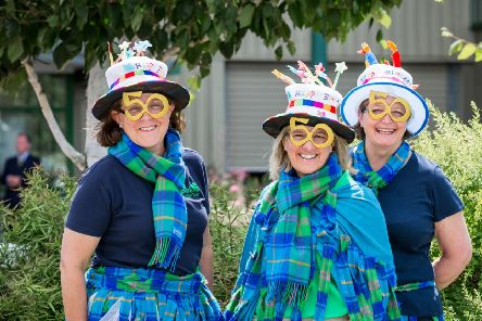 Celebrating 50 years of the RDA at the recent national championships in Hartpury are the three regional Scottish chairwomen Kim, Barbara and Kate.