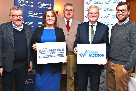 Scottish Conservatives' leadership election candidates Michelle Ballantyne, second from left, and Jackson Carlaw, fourth from left, at the Moffat hustings on Saturday with (left to right): David Mundell, MP, meeting chairman Charles Milroy and Oliver Mundell, MSP