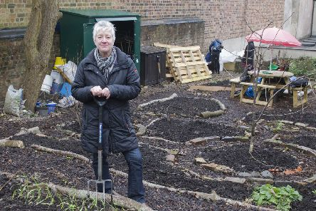 Karen Birch from Abundant Borders at Hawick's community garden near the Salvation Army base.