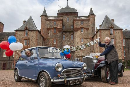 FREE to USE IMAGES''PHOTO CAPTION''Pictured at Thirlestane Castle, Robin Wild from St Boswells with his 1949 Bentley Special and Lindsay Grime from Kelso with her 1961 Austin Cooper S.''PRESS RELEASE&.'Birthday Cars'2019 is the year that the Mini celebrates its 60th Birthday and to mark this special motoring milestone, the central theme of this year's BVAC Classic is 'The Year of the Mini'.'The Borders Vintage Automobile Club are delighted to celebrate 60 years of this much-loved small car in a big way at their annual Festival of Motoring on Sunday 2nd June at Thirlestane Castle in Lauder.'But quite incredibly, 2019 is also a year that is absolutely jam packed with other motoring milestones, significant birthdays and anniversaries. From the Mini to the Ford Capri, Bentley to Fiat and the Austin Healey 3000 to the Jaguar Mk 2! 'From the birth of several very famous models to anniversaries of some of the biggest car manufacturers, here are some of the motoring milestones which are enjoying a special celebration
