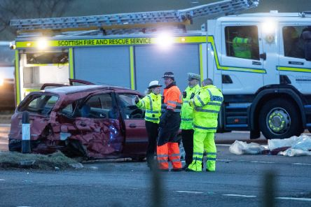 Emergency services at the scene of the crash at Glenbervie. Picture: Newsline Media