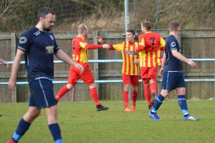 Liam McGonigle celebrates after setting up Rossvale's first goal at Cumbernauld (pic by HT Photography/@dibsy_)