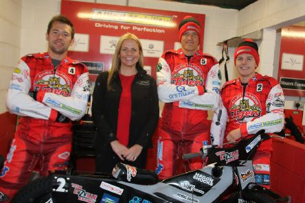 Glasgow Tigers' riders Paul Starke, Claus Vissing and James Sarjeant with Sarah Devlin, senior business development manager with sponsors Supply Technologies.