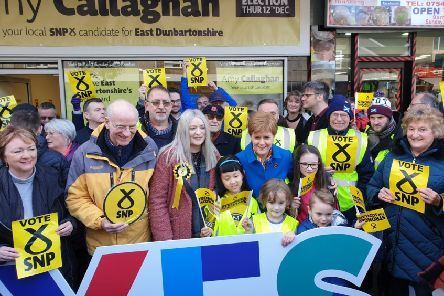 First Minister Nicola Sturgeon with  Amy Callaghan (centre) and supporters