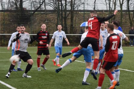 Scott Forrester's header was just wide for Rob Roy at Benburb (pic: Neil Anderson)
