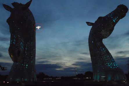 Heather McEwan's photo of the 'UFO' at the Kelpies