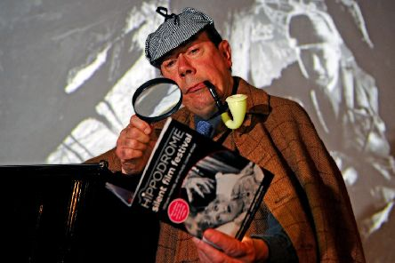 Elementary...Mike Nolan dressed as Sherlock Holmes after performing a short extract from his composition for the UK premiere at HippFest's press launch. (Pic: Michael Gillen)