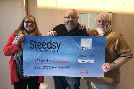 Pictured from left are: Marion Pirrie, Maggie's Centre's fundraising manager, David Steedsy Stevenson and  Sandy Wilkie, chairman of Board, Maggie's Lanarkshire.