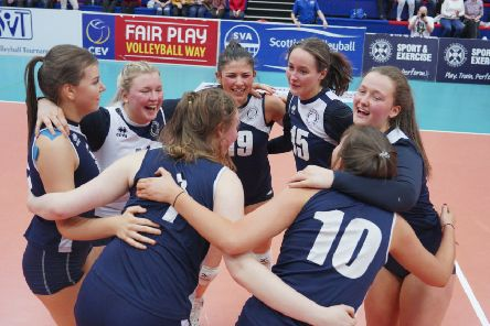 City of Edinburgh celebrate winning the U18 Girls Scottish Cup  (pic courtesy of Michael McConville & Lynne Marshall, www.volleyballphotos.co.uk).