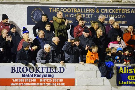 Linlithgow Rose v Falkirk FC, Scottish Cup 3rd round on Friday, November 22. Linlithgow fans at the game. Picture by Michael Gillen.