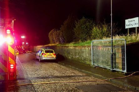 Police issued picture of the scene at former Bo'ness Bowling Club, where it's suspected youths tried to burn down the building on Feb 15, 2020.