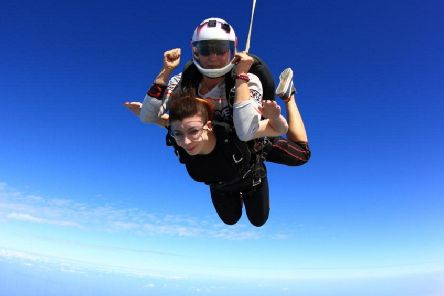 Kaitlin Nelson during her previous skydive.