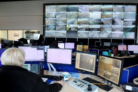 Heart of the action...the 46 inch television screens in the control centre are  monitored 24 hours a day, 365 days a year. (Pic: Michael Gillen)