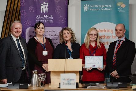 Left to right: Alex Neil MSP, Tracy Ogilvie, Pillar trustee; Moira Hurry, Pillar service manager; Lesley Hodds, Pillar volunteer and David Cameron, Scottish Union of Supported Employment (SUSE)