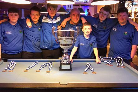 Midlothian Arran Raine far right Scotland side winners of World Championships in pool in Novemberf 2018